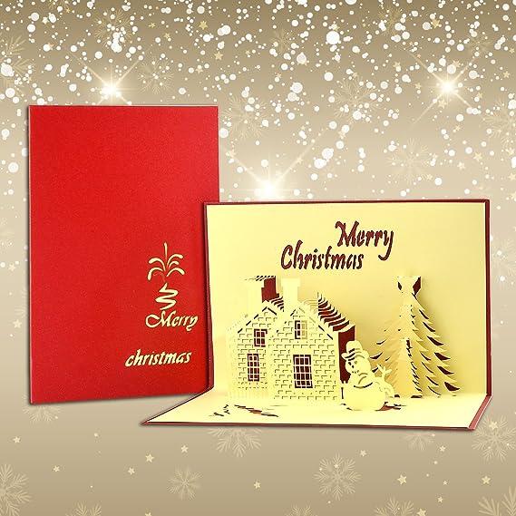 We pop up 3d Carte Noël Carte de voeux Tannen dans la neige maisons 16x11cm