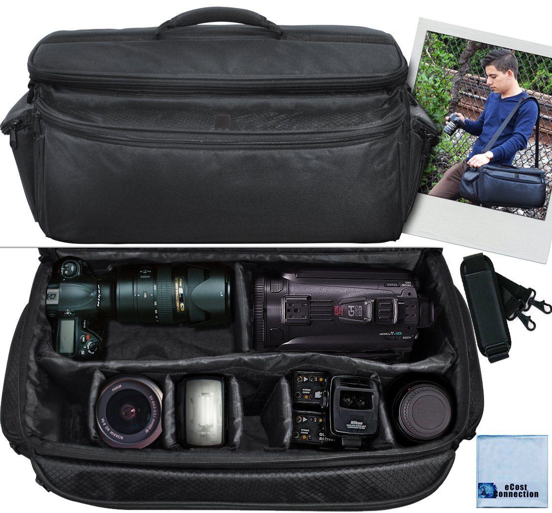 Extra Large Soft Padded Camcorder Equipment Bag / Case For Canon XA10, XA20, XA25, XH-G1s, XL2 & More... + eCostConnection Microfiber Cloth by eCost