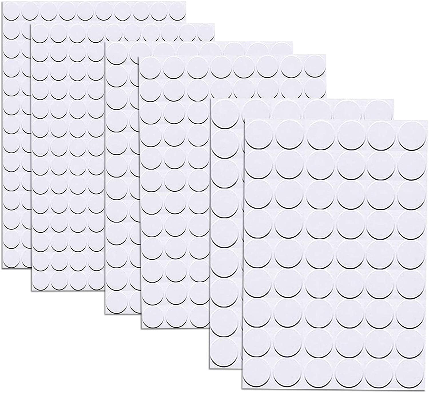 580 Pcs Self-Adhesive Screw Hole Stickers,6-Table Self-Adhesive Screw Covers Caps Dustproof Sticker 12mm, 15mm, 21mm White