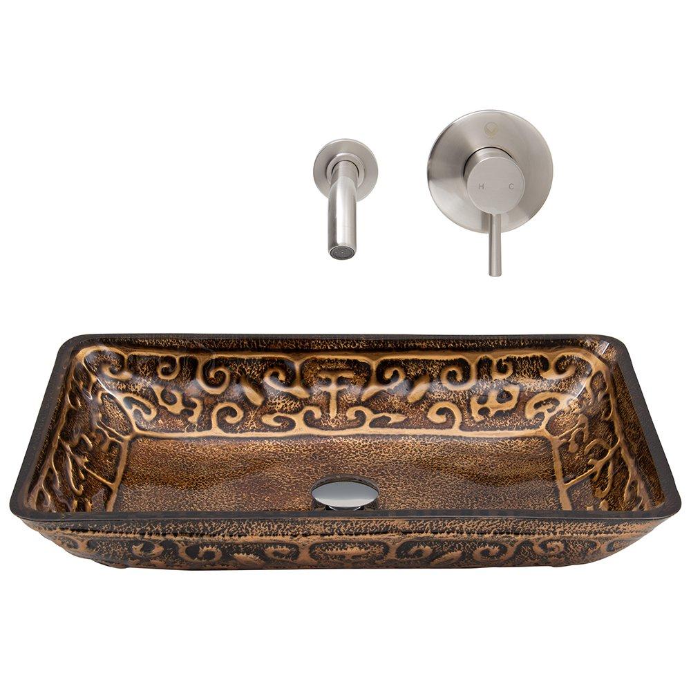 Brushed Nickel VIGO Rectangular Golden Greek Glass Vessel Bathroom Sink and Olus Wall Mount Faucet with Pop Up