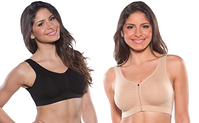 c47cf16d4 Marielle Padded Women s Front Zip Post-Surgical - Sports - Comfort Bra with Wide  Back