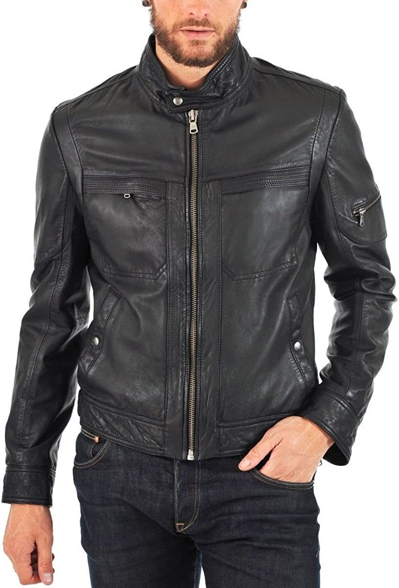 Kingdom Leather New Mens Genuine Cow Leather Slim Fit Biker Motorcycle Jacket for Men XC438