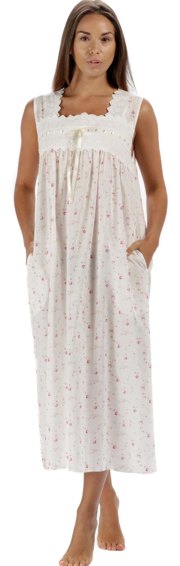 The 1 for U Laura Sleeveless Nightgown 100% Cotton Womens Nightie (XL, Vintage Rose)