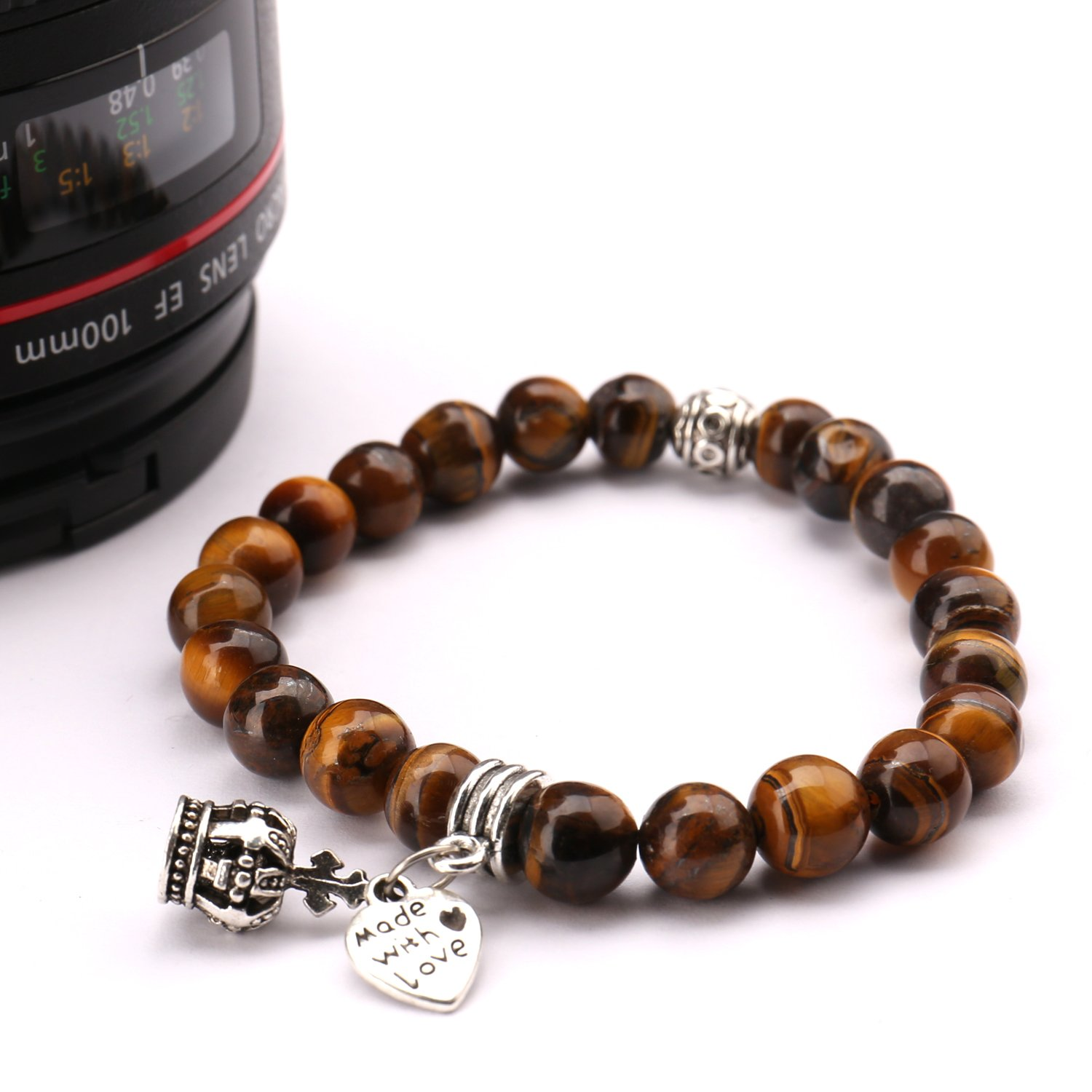 Bead Bracelets,UHIBROS Stretch Bracelets Black Matte Weathering Agate Lava Rock Stone Beads Bracelets With Leopard Head&Buddha head (Pendant Bead Bracelet brown)