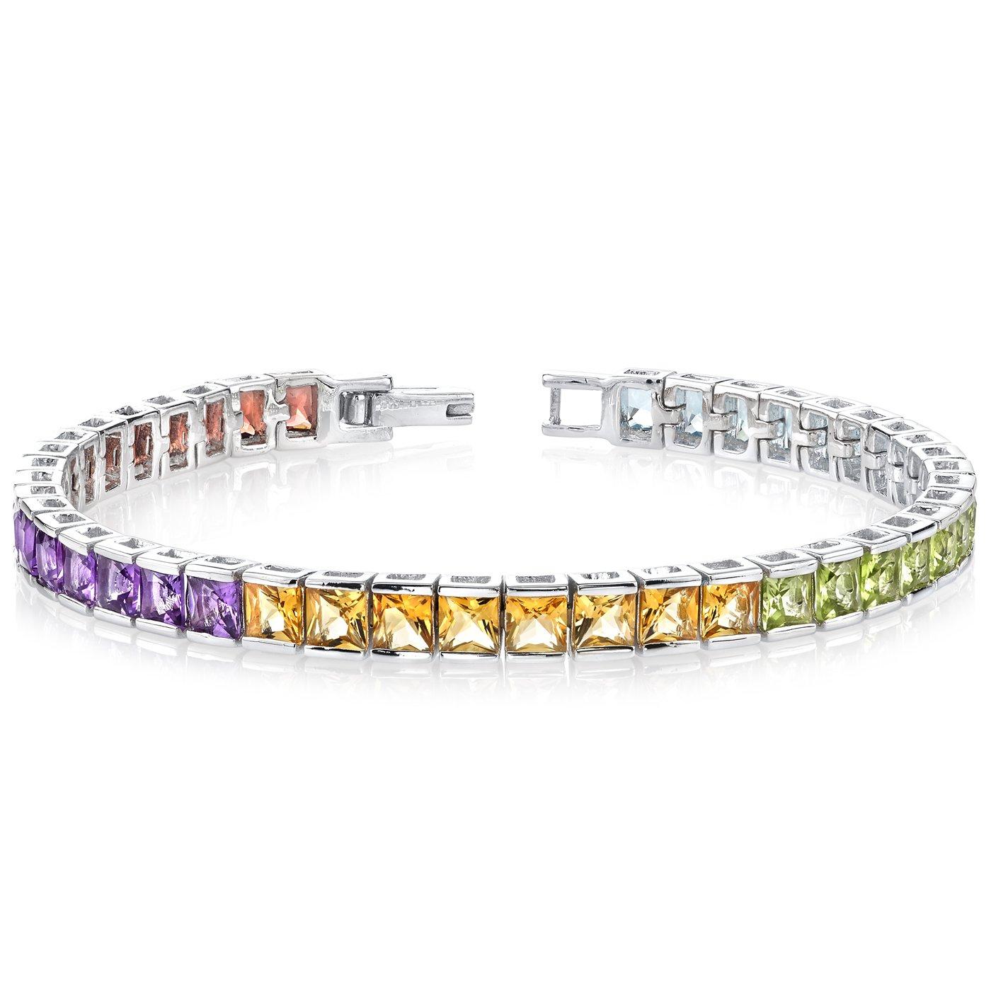 15.00 Carats Princess Cut Rainbow Color Tennis Bracelet Sterling Silver