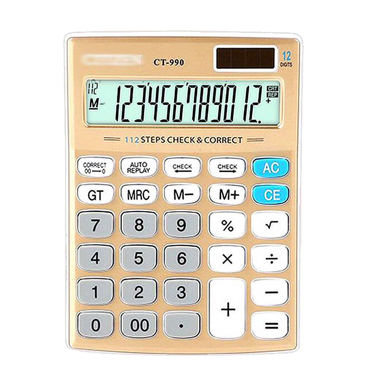 Aisa Office Student Counting Calculator Machine 12 Digits LED Screen Display Computing Counter Gold by Aisa
