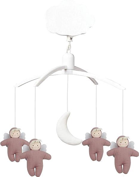 Mozart - Estuche musical con diseño de ángeles de tela de lino, color rosa: Amazon.es: Bebé