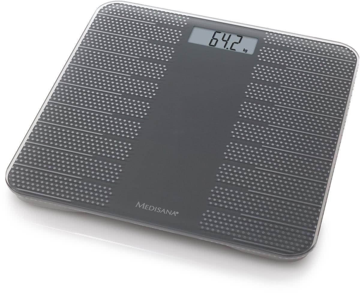 Medisana PS430 40458, Báscula Digital de Baño, con moderno diseno y superficie antideslizante, hasta 180 kg, pila incluida, Color Gris Oscuro: Amazon.es: ...