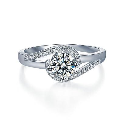Sterling Silver Swirl Design Engagement Ring w// Brilliant Cut CZ Stones