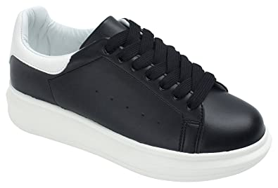 3f60647d9c AnnaKastle Womens Faux Leather Lace Up Sneaker,Black,US 5.5,B(M