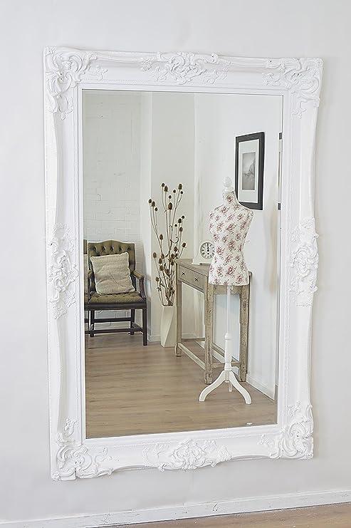 Grande bianco decorato, specchio da parete design antico enorme 1,8 ...