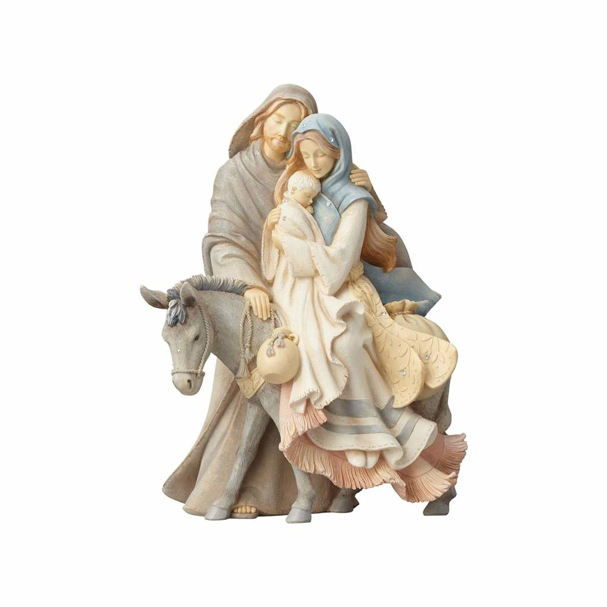 Foundations (4058697) Holy Family with Donkey Stone Resin Figurine, 9.45""