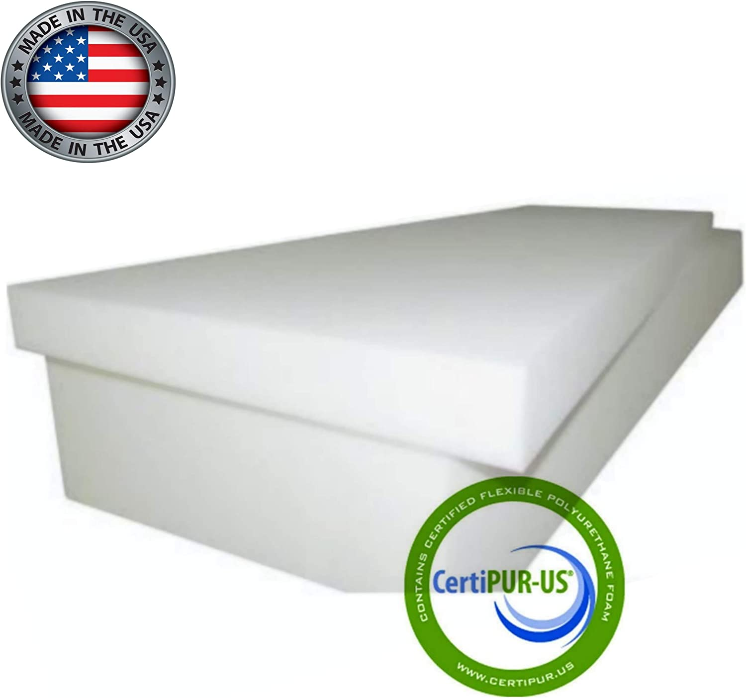 Upholstery Cushion Made in USA GoTo Foam 1 Height x 24 Width x 72 Length 44ILD Firm