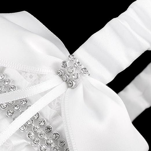 Amazon.com: eDealMax Raso de la boda de Diamante de imitación Bowknots Decoración pétalos de almacenamiento niña de las Flores llevan la cesta Blanca: Home ...