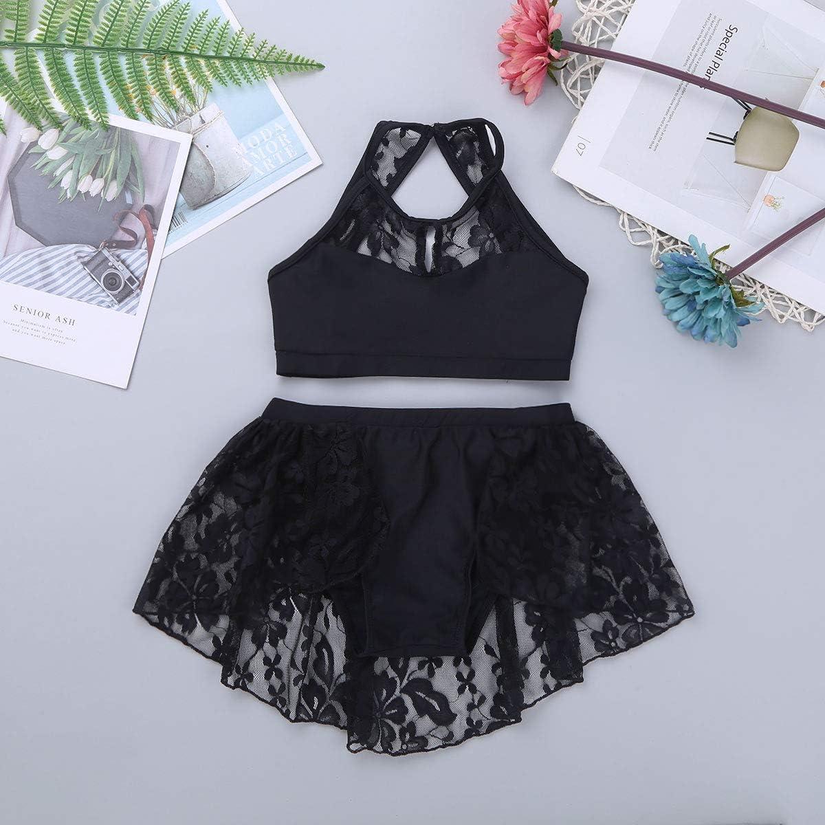 Yeahdor Children Kids Lace Floral 2 Pieces Lyrical Modern Contemporary Dance Outfits Active Crop Top /& Tutu Skirt