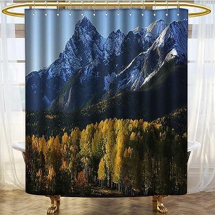 PRUNUSHOME Americana Landscape Decor Shower Curtain Snow Village Mountain Retreat Colorado Park Pine Region Peak Fabric