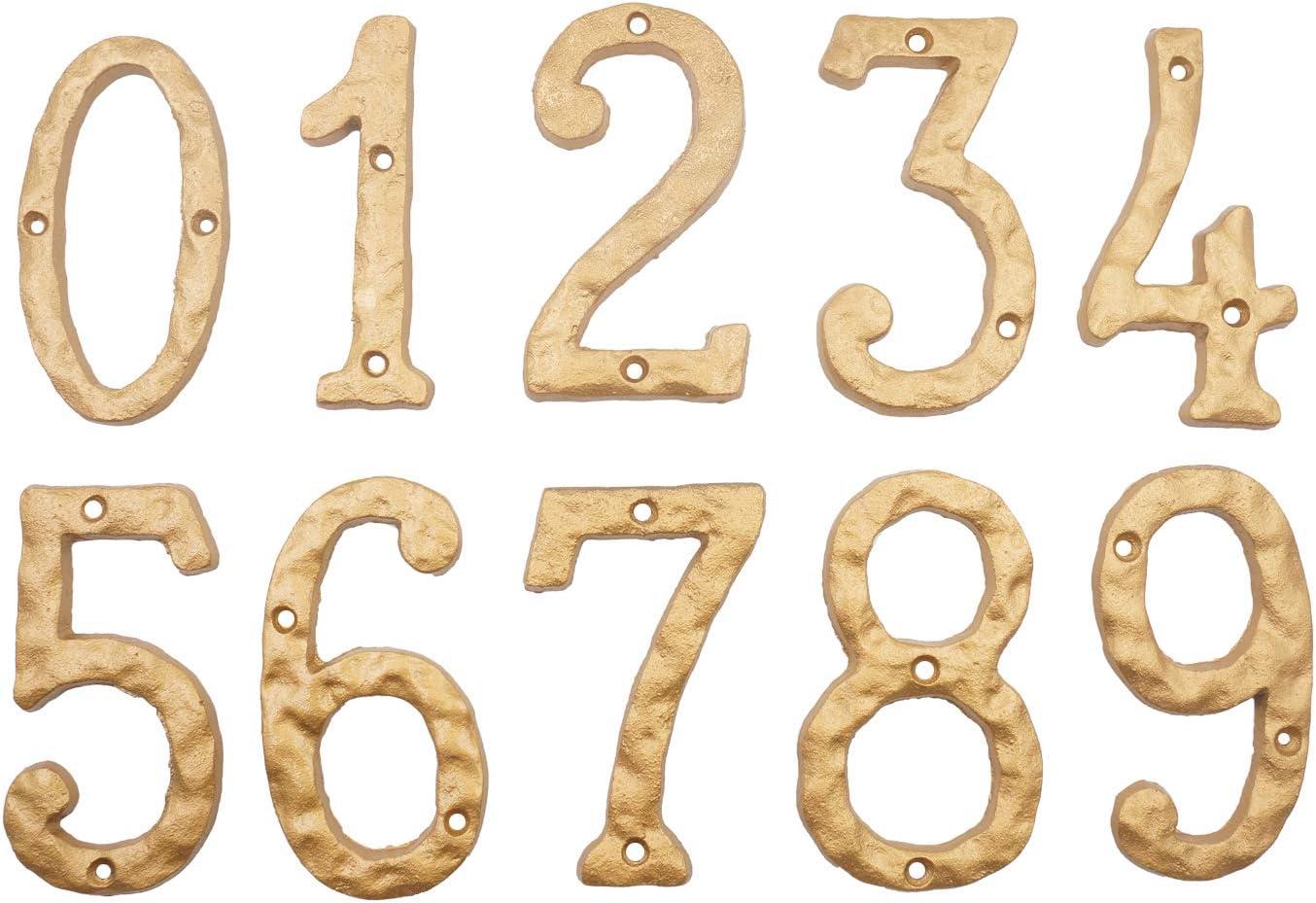 Hausnummern massives Gusseisen 15,2 cm einzigartiges Hammeroptik mit elegantem goldfarbenem Finish