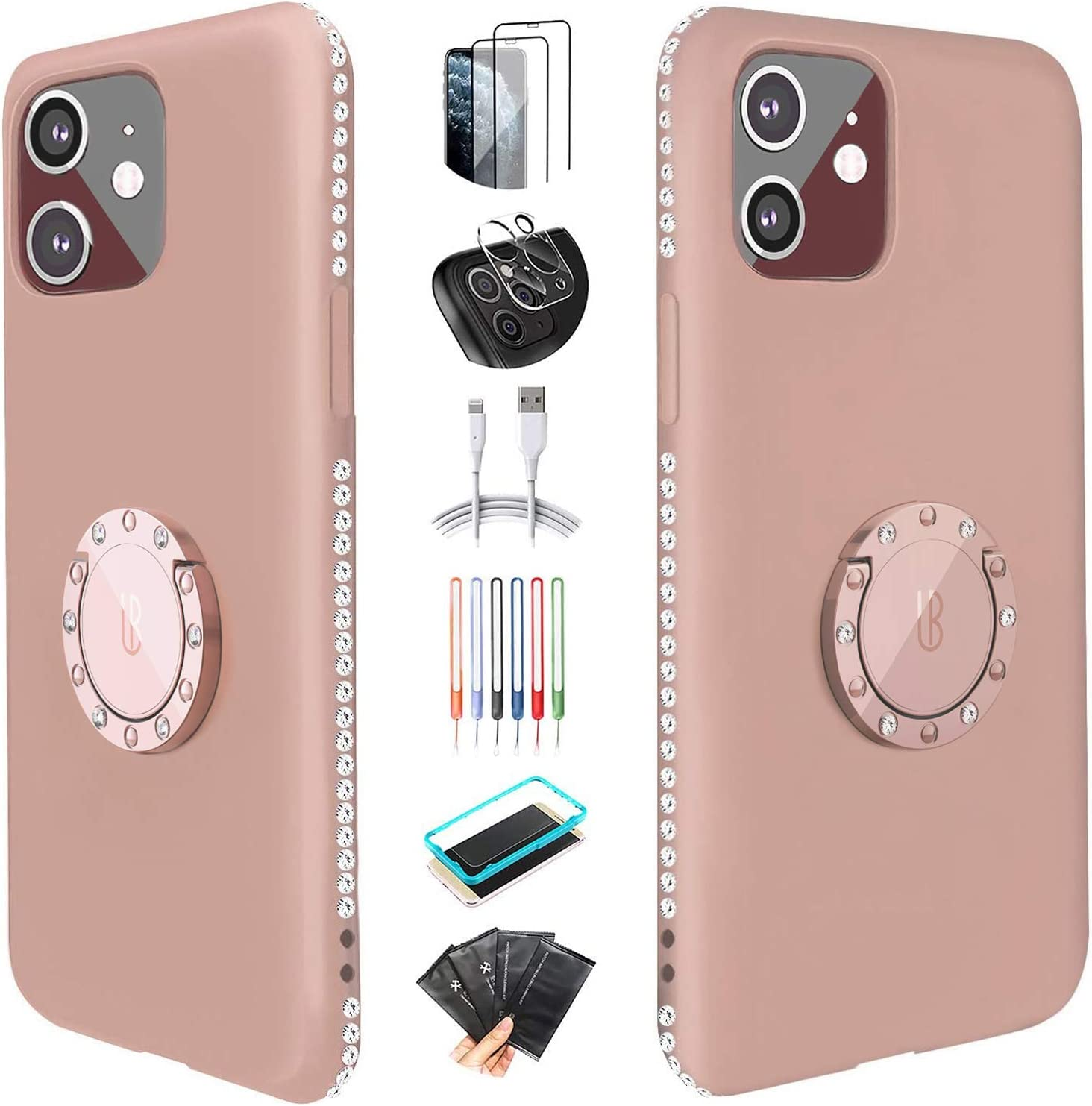 [Super Giveaways] UBUNU Silicone iPhone 11 Case for Women, Liquid Silicone Glitter Bling Rhinestone Bumper with Ring Kickstand Grip Holder Girly Cute iPhone 11 Case for Girl 6.1 inch - Sandy Pink