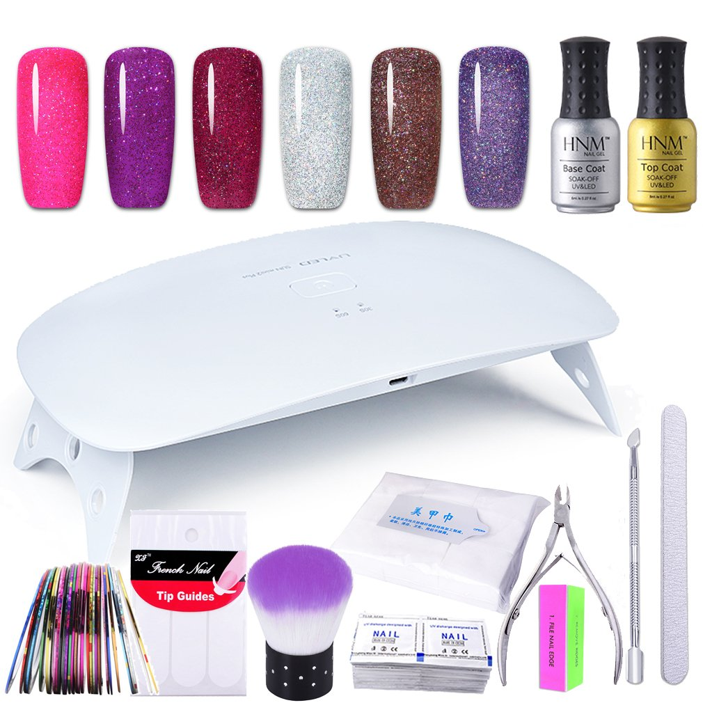 HNM Gel Nail Polish Starter Kit with 24W LED Curing Lamp Base Top Coat Remover Wrap Manicure Tools