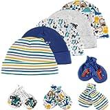 Lictin Newborn Mittens and Caps-5 Pcs Caps Hats & 4 Pairs No Scratch Mittens Glove