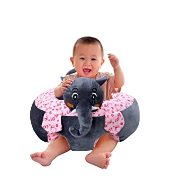 Besties Baby Soft Plush Cushion Cotton Baby Sofa Seat Infant Safety Car Chair Learn to Sit Stool Training Kids Support Sitting for Dining (Elephant Sofa Elephant Color)