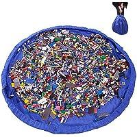 2 en 1 Sacs à Jouets pour Enfants Bébé 150cm Sac de Rangement Tapis de Jeu Pliable Organisateur de Lego Blocs de Construction Portable Pour Maison/Outdoor/Voyage