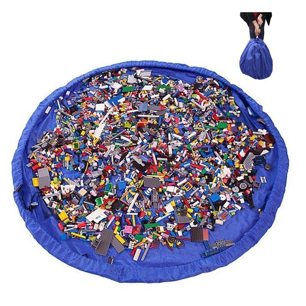 2 en 1 bolsa de almacenamiento de juguetes y alfombra de juego, bolsa organizadora portátil grande de 150 cm con cordón, alfombra plegable de limpieza para el hogar y el aire libre rosa rosa Syclecircle