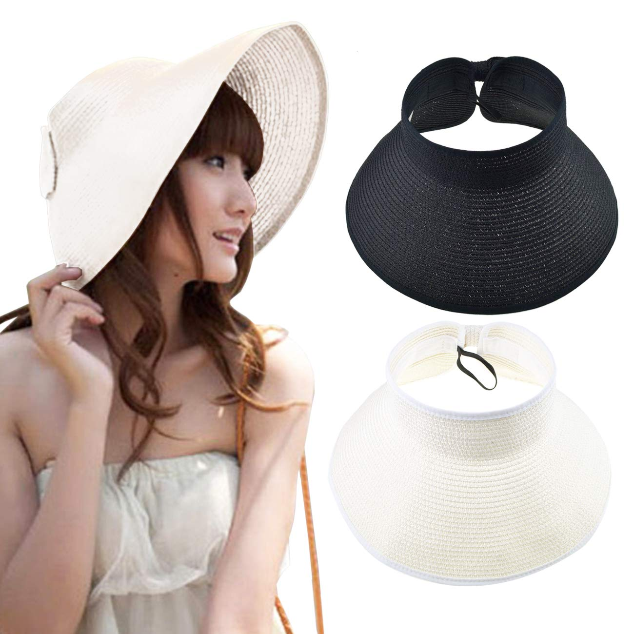 DRESHOW Sun Visor Hat Cap Adjustable Large Brim Straw Beach Hat UV Protection UPF 50+ for Women Summer Packable