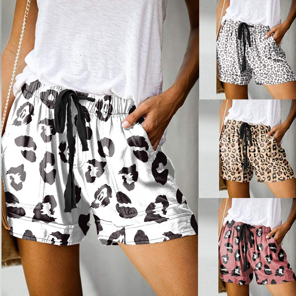 S-5XL Fitfulvan Womens Comfy Summer Leopard Shorts Drawstring Elastic Waist Pockets Casual Sports Soft Hot Pants