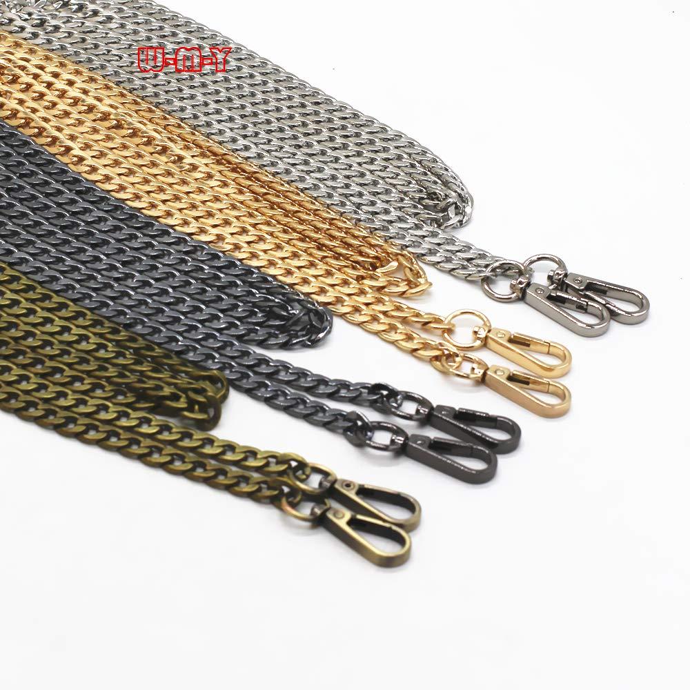 M-W 4PCS 63'' DIY Iron Flat Chain Strap Handbag Chains Accessories Purse Straps Shoulder Cross Body Replacement Straps, with Metal Buckles (Gold+Silver+Gun-Black+Bronze)
