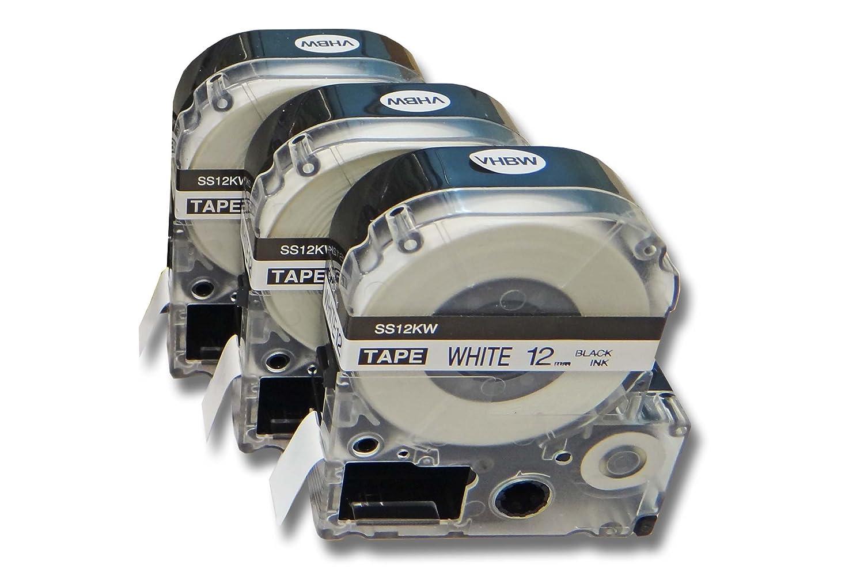 Lot 3 Cassettes à Ruban vhbw 12mm pour Epson LabelWorks LW-700, LW-400, LW-500, LW-900P comme LC-4WBN, SS12KW. VHBW4251156509879