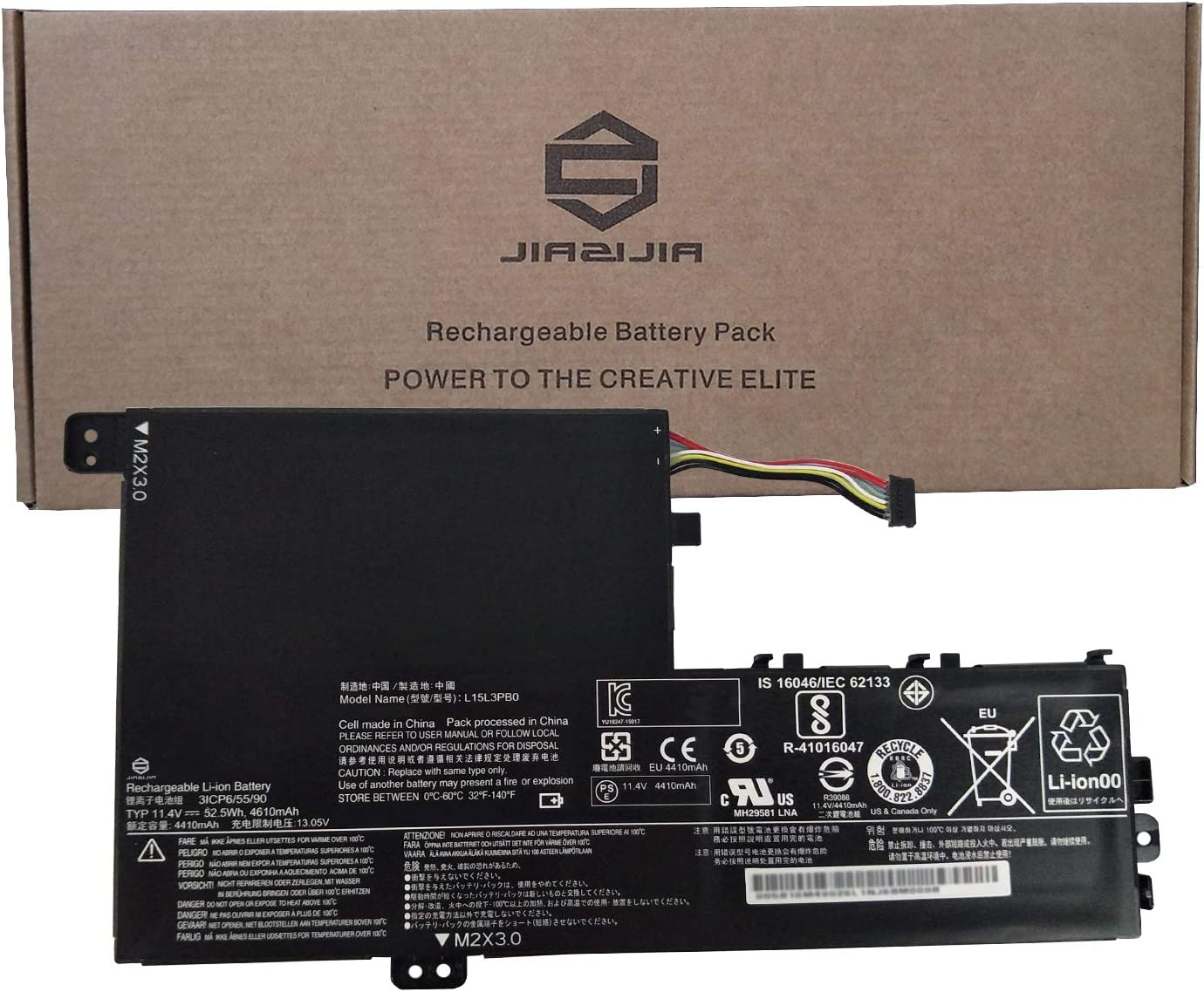JIAZIJIA L15L3PB0 Laptop Battery Replacement for Lenovo Flex 5 1470 1570 IdeaPad 320S-14IKB 320S-15ABR 320S-15AST 320S-15IKB 320S-15ISK 520S-14IKB Yoga 520-14IKB Series L15M3PB0 Type-A 11.4V 52.5Wh