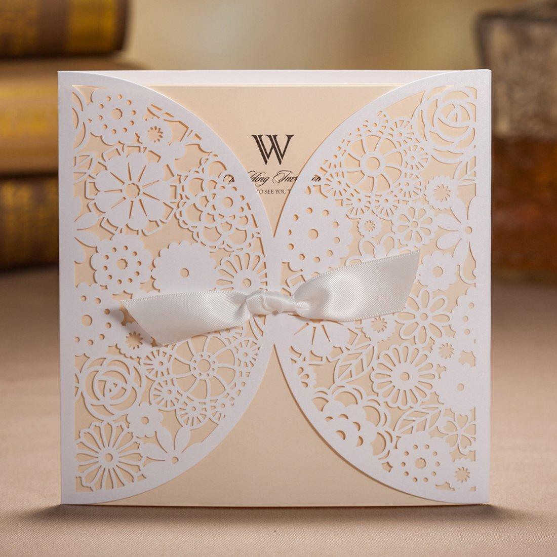 Amazon Wishmade 50x Laser Cut Trifold Lace Sleeve Wedding – Lace Wedding Invitations