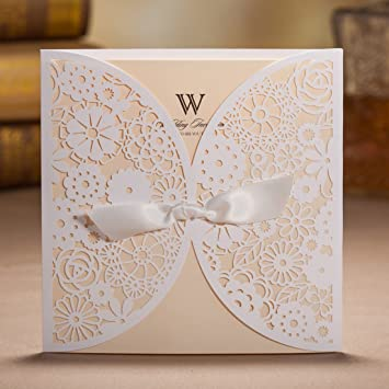 amazon com wishmade 50x laser cut trifold lace sleeve wedding