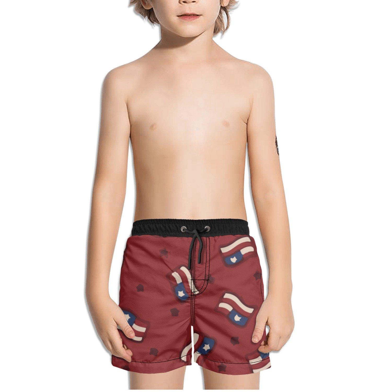 Ouxioaz Boys Swim Trunk Abstract American Flags Red Beach Board Shorts