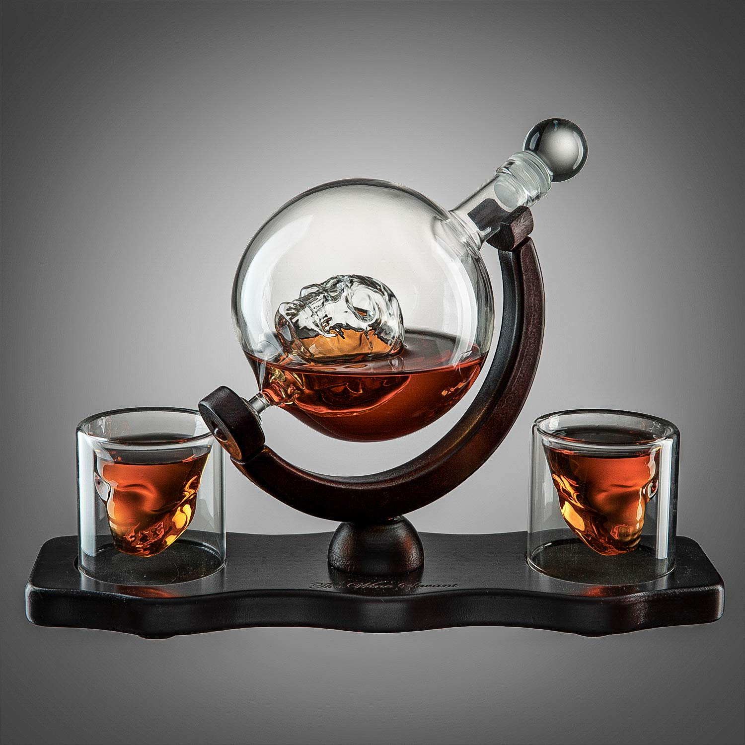 Skull Decanter Set With 2 Skull Shot Glasses - by The Wine Savant - and Beautiful Wooden Base - By Use Skull Head Cup For A Whiskey, Scotch and Vodka Shot Glass, 850ml Decanter 3 Ounces Shot Glass by The Wine Savant