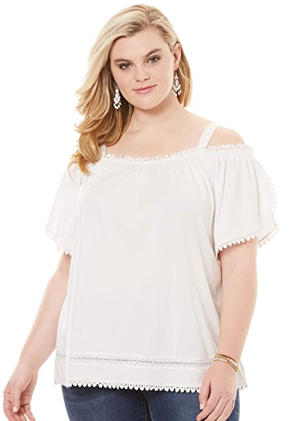201ef71cff7865 Roamans Women's Plus Size Cold Shoulder Flutter-Sleeve Top - White, 22/24  at Amazon Women's Clothing store: