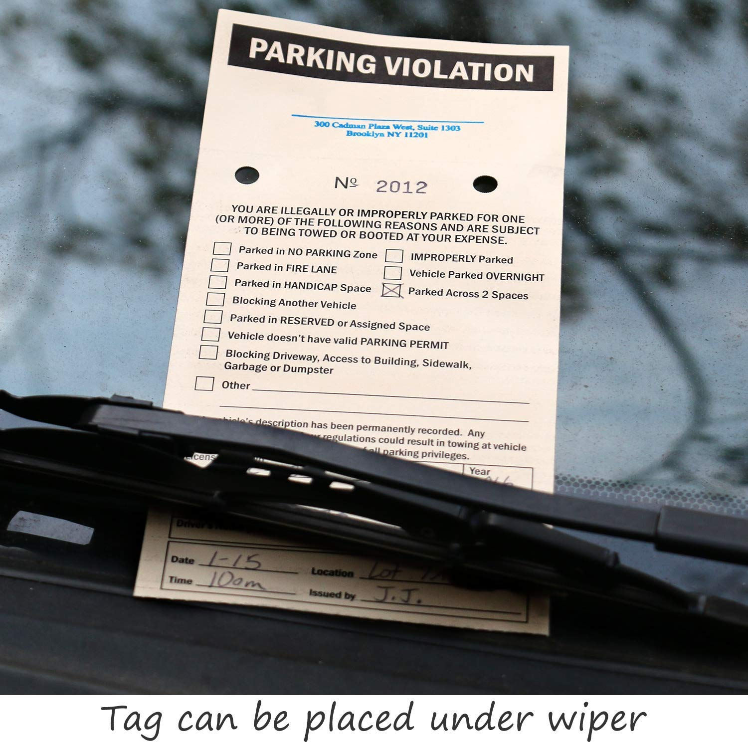 SmartSign ''NCR 2-Part Perforated Numbered Parking Violation Ticket'' | 4.25'' x 9.25'' Manila Tag with Adhesive Strips, Pack of 50 by SmartSign