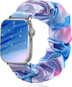 Henva Compatible with Apple Watch SE Band Scrunchies 42mm Series 3/2/1, for Women Girls, Soft Cute Elastic Scrunchy Pattern Printed Wristbands Replacement for iWatch 44mm Series 6, Blue Pink, S/M