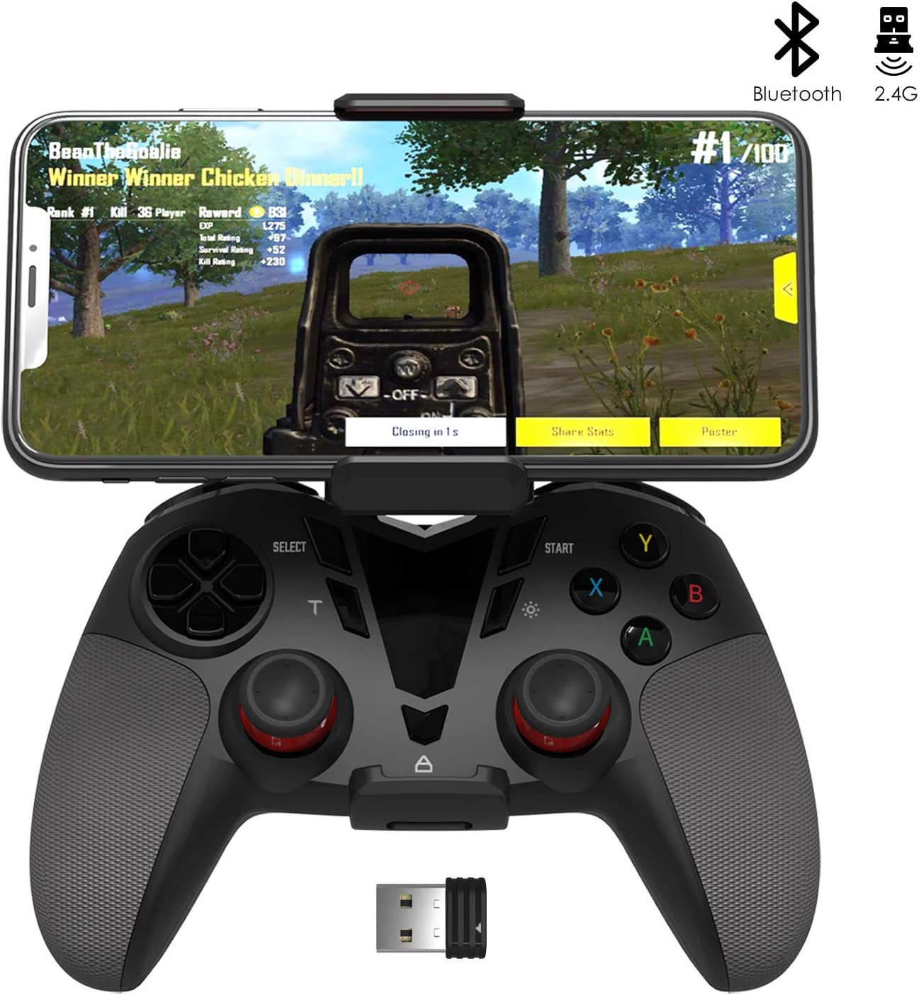 Darkwalker Mando Inalámbrico Bluetooth para Android OS/PS3/PC Windows, Mando De Videojuegos Compatible con Los Juegos Móviles Negro