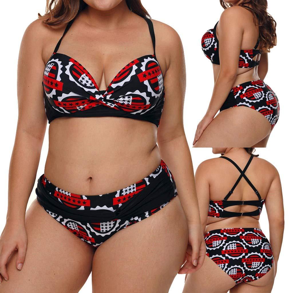 LHWY Tankini Trikini Tangas Juego de Bikini Push-up con Estampado de Pentagrama para Mujer de Talla Extra. Ropa de Playa con Bandera Estadounidense.