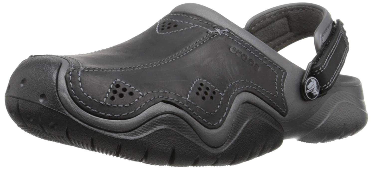 3658871e6 Crocs Men s Swiftwater Leather Clog  Amazon.co.uk  Shoes   Bags