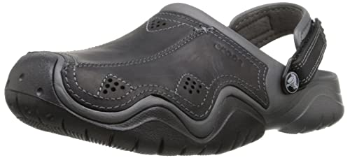 df045ad6fab Crocs Men s Swiftwater Leather Clog  Amazon.co.uk  Shoes   Bags