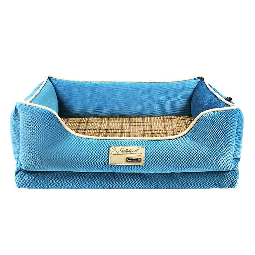 bluee 118×90×25cmSquare Sponge Pet Nest, Home golden Hair Small Medium Large Cat Dog Bed, Four Seasons at Home Pet NonSlip Mat (color   Brown, Size   70×54×19cm)