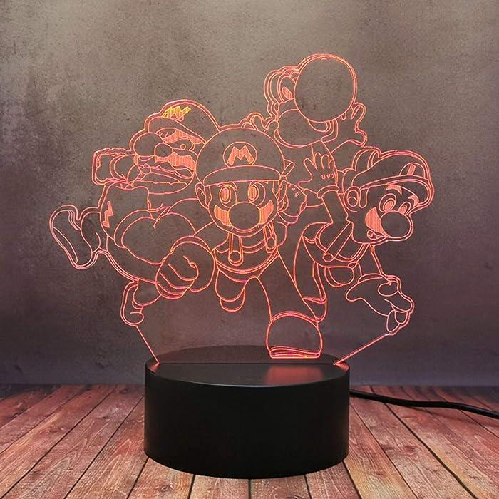 Game Super Mario Bros Yoshi Dinosaur Family 3D LED Desk Table Lamp, USB 16 Color Gradient Shine Decor Night Light, for Home Kid Bedroom Decor Touch Sensor Remote Brightness Flash Festival Toy Gift