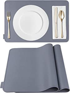 Kamehame Placemats Heat Resistant Silicone Table Mats 2 Pack Kitchen Countertop Protector Pads 18 x 12 inch Non Slip Waterproof Table Mat with Raised Edges