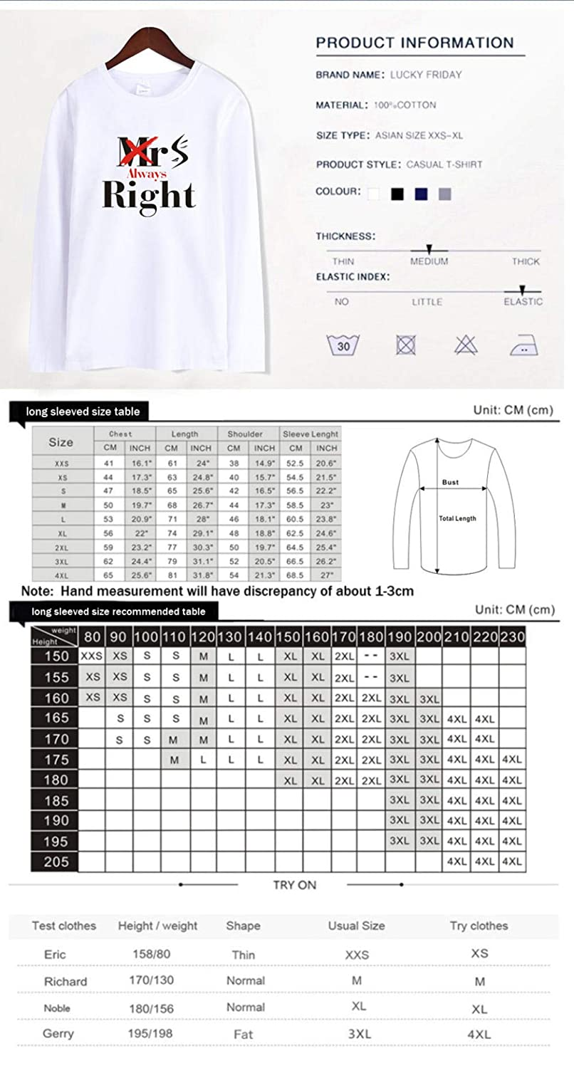 Printed Long-Sleeved T-Shirt,Digital Print Couple Comfort Sweatshirts Exercise Fitness and Tights Sports MRS Alway Right