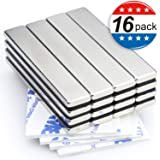Strong Neodymium Bar Magnets with Double-Sided Adhesive, Rare-Earth Metal Neodymium Magnet - 60 x 10 x 3 mm, Pack of 16