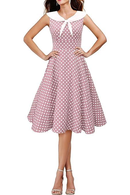 /'Iris/' Polka Dot Collared Vintage 1950/'s Rockabilly Swing Pin-Up Evening Dress