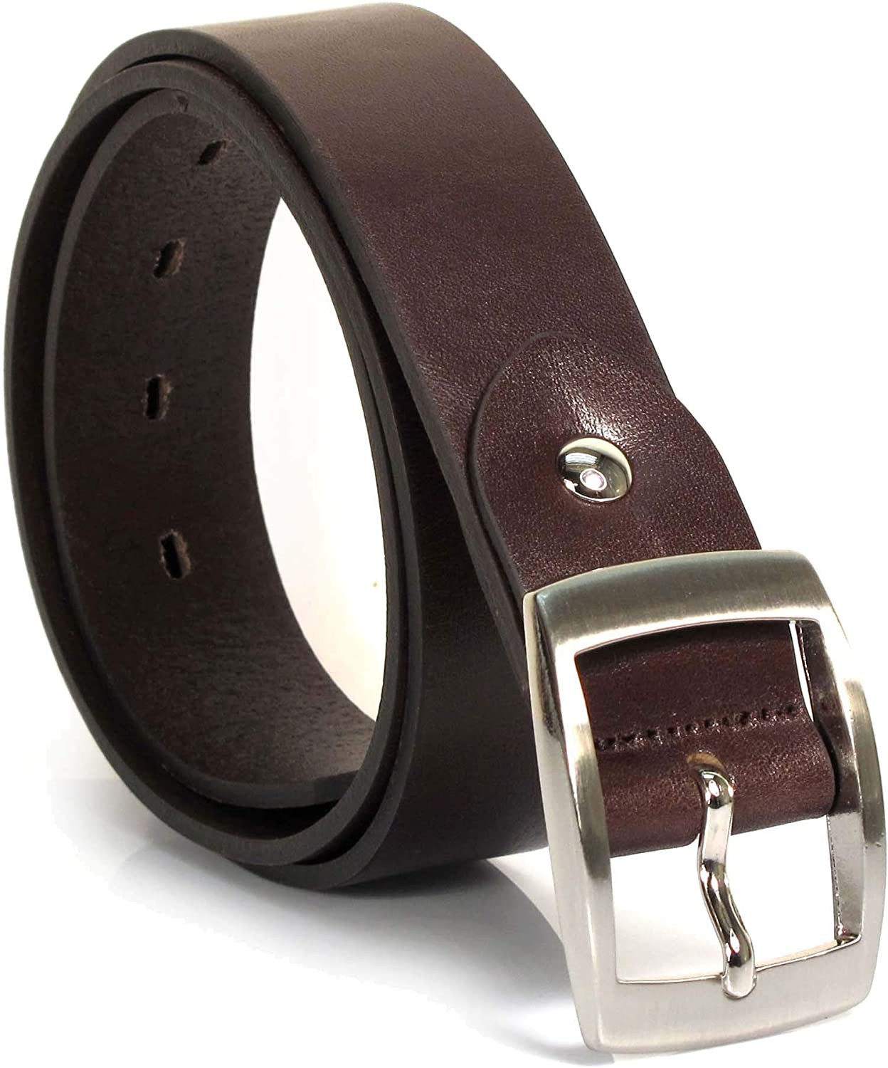 Mens Real Genuine Leather Dark Brown Belt 1.25 Wide S-XL Thick Casual Jeans UM4